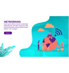 networking concept with character template for vector image