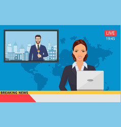 News anchor broadcasting vector