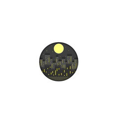 night city logo cut out paper lights of vector image