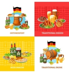 Oktoberfest Concept 4 Flat Icons Square vector image