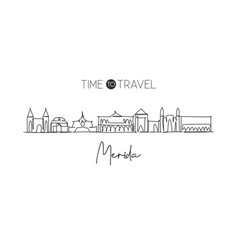 one continuous line drawing merida city vector image