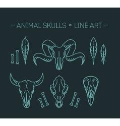 Outline icon skull animals vector