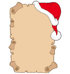 Parchment with christmas hat vector