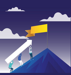 People carrying arrow going up vector