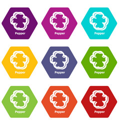 pepper icons set 9 vector image