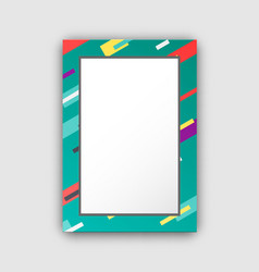 photo frame with green border and abstract figures vector image