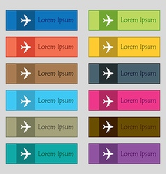 Plane icon sign Set of twelve rectangular colorful vector