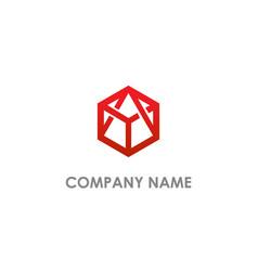 Polygon geometry triangle logo vector