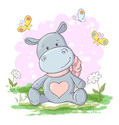 postcard cute hippo flowers and butterflies vector image
