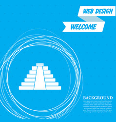 pyramid icon on a blue background with abstract vector image