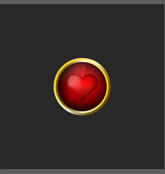 red heart logo valentine day 3d icon glossy glass vector image