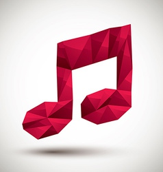 Red musical note geometric icon made in 3d modern vector