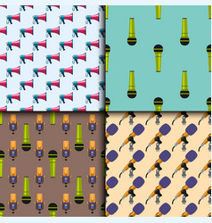 Retro microphones seamless pattern journalist vector