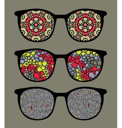 Retro sunglasses with pattern reflection vector image