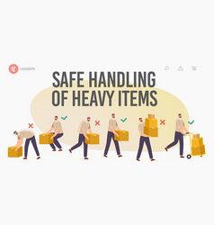 Safe handling heavy items landing page template vector