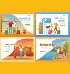 set 2d flat tourists on vacation and on excursions vector image