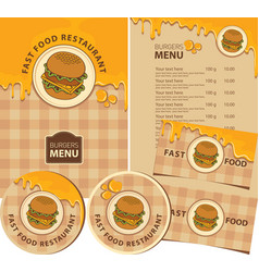 set design elements with cheeseburger vector image