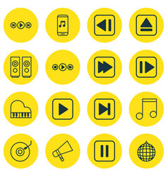 Set of 16 audio icons includes sound box extract vector