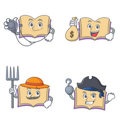 Set of open book character with doctor money bag vector