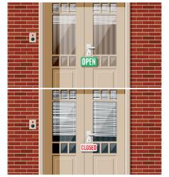 shop door with windows and window blind vector image