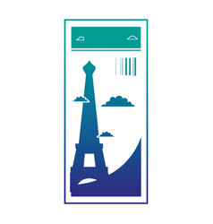 Silhouette eiffel tower of paris ticket vacation vector