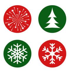 snowflake xmas tree firework - merry christmas vector image