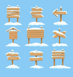 snowy signboards set vector image