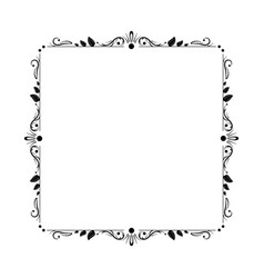 stylish elegant vintage contour frame with leaves vector image