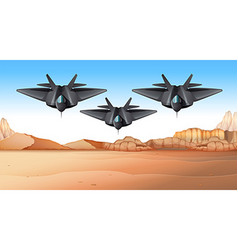 Three fighting jets flying over desert vector
