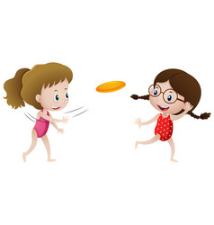 Two girls playing frisbee vector