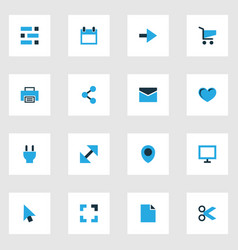 user icons colored set with print resize plug vector image