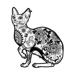 Vintage cat tattoo design vector