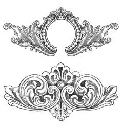 Vintage floral wood print decorative elements vector