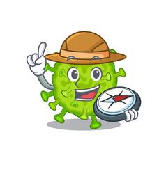 Virus corona cell an explorer with a compass vector