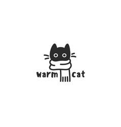 Warm cat logo vector