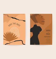 Wedding boho invitation card artistic vector