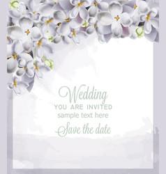 Wedding card spring hydrangea flowers vector