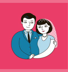 wedding or love happy married couple vector image