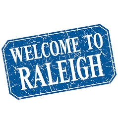 Welcome to Raleigh blue square grunge stamp vector