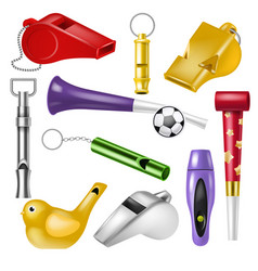 whistle coach whistling sound tool and fan vector image