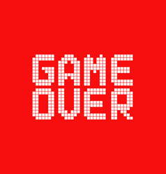 White game over logo in pixel art style vector