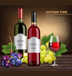 wine bottles and grapes realistic product vector image