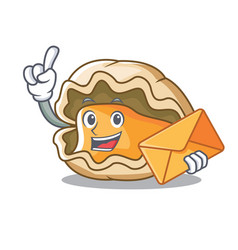 With envelope oyster character cartoon style vector
