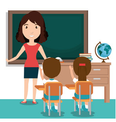 woman teacher with students in the classroom vector image