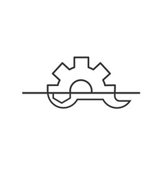 wrench and gear icon a symbol development and vector image