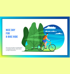 Young man riding bicycle vector
