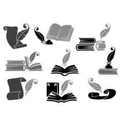 Books with feather icon set vector image