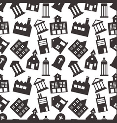 buildings icon seamless pattern background vector image
