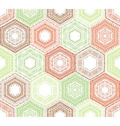 Coloured crochet hexagons vector