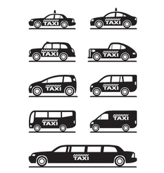 Different types of taxi cars vector image